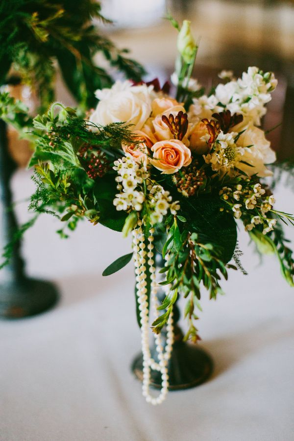 centerpiece with hanging pearls // photo by Lauren Scotti // floral design by Janet Landreth, Evoque Events