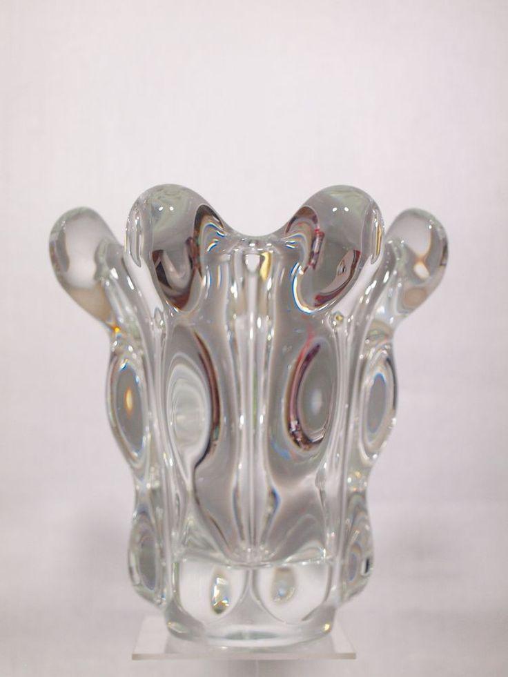Art Vannes France Mundgeblasene Kristall Vase