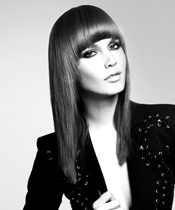 #Medium #long, framed, #blunt rounded #bangs, thinned. Learn more about #hairstyles and #haircolor at www.emersonsalon.com