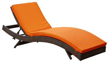 Peer Outdoor Patio Chaise in Brown Orange - modern - outdoor chaise lounges - LexMod
