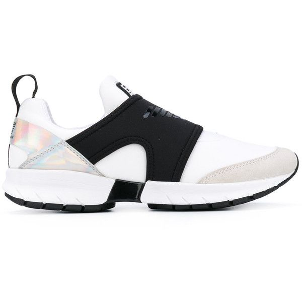 Ea7 Emporio Armani translucent panel sneakers (5 175 UAH) ❤ liked on Polyvore featuring shoes, sneakers, white, white sneakers, white trainers, white shoes and ea7 emporio armani