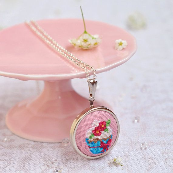 Embroidered Cupcake Pendant // Cupcake Party Jewelry //Blue on Pink // Cute Jewelry // Cupcake Necklace