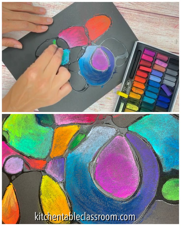 Glue Drawing with Chalk – The Kitchen Table Classroom