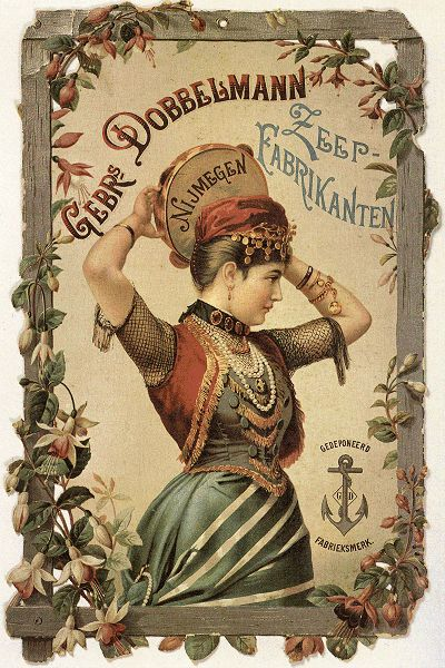 highvictoriana: Dutch Fabric Soap Trade Card love this, you rarely find creative ads like this handed out today. Not a single shouty colour or ugly lettering in sight, gorgeous :)