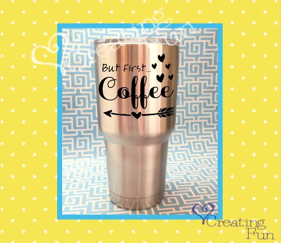 Coffee decal but first coffee decal coffee mug sticker
