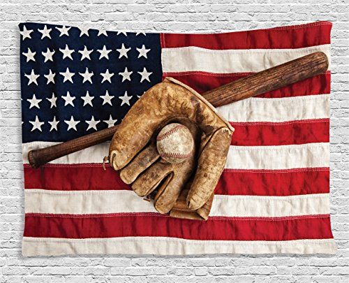 American Flag Tapestry Sports Decor by Ambesonne, Vintage Baseball League Equipment with Usa American Flag Fielding Sports Theme, Bedroom Living Room Dorm Wall Hanging, 80 X 60 Inches, Brown Red Blue *** See this great product.