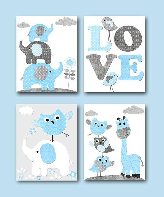 Grau blau Owl Giraffe Elefant Decor Canvas Kindergarten Print Baby Boy Wall Decor Playroom Wand Kunst Kinder Geschenk Childrens Raum Dekor 4er set