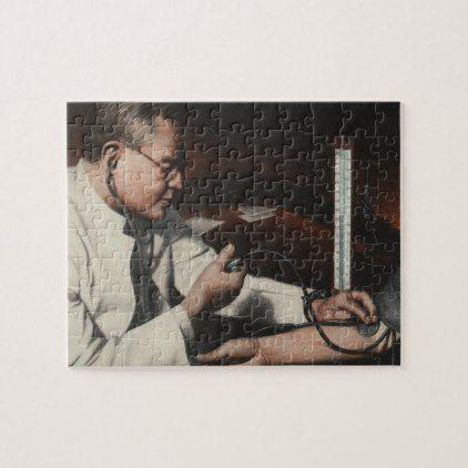 Vintage Medicine Doctor Examining a Sick Patient Jigsaw Puzzle - retro gifts style cyo diy special idea