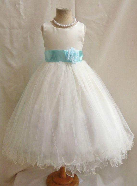 Flower girl dress ivory blue aqua fl wedding children for Aqua blue and white wedding dresses
