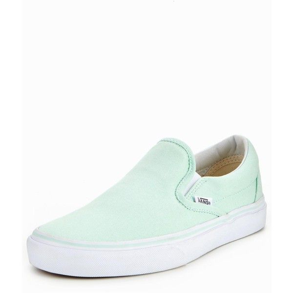 Vans Classic Slip-On ($65) ❤ liked on Polyvore featuring shoes, sneakers, summer sneakers, summer shoes, mint green shoes, vans trainers and mint shoes