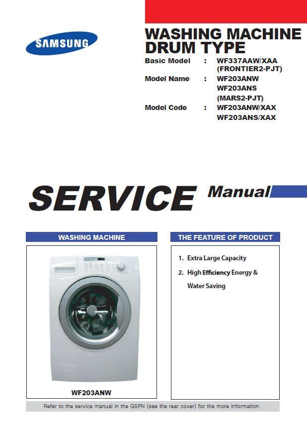 Samsung Wf203anw Wf203ans Washing Machine Service Manual Repair Guide Washing Machine Service Repair Guide Washing Machine