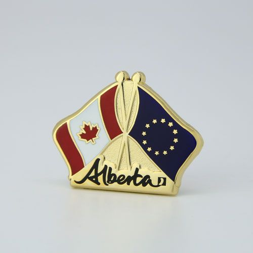 Alberta, Canada and EU flag pin. Hard enamel, gold plate.