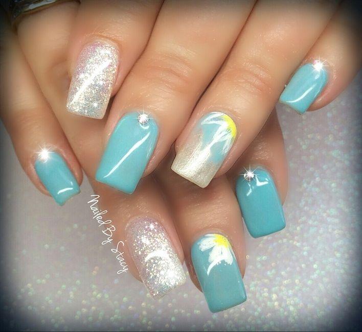 Miss Daisy - Tiffany Blue by NailedByStacy via @nailartgallery  #nailartgallery #nailart #nails - Best 25+ Tiffany Blue Nails Ideas On Pinterest Tiffany Nails