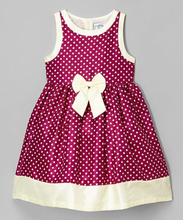 Another great find on #zulily! Wine & Cream Polka Dot Shantung Dress - Infant, Toddler & Girls #zulilyfinds