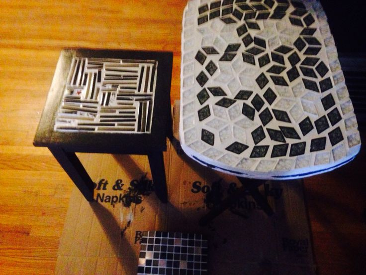 Two small mosaic side tables