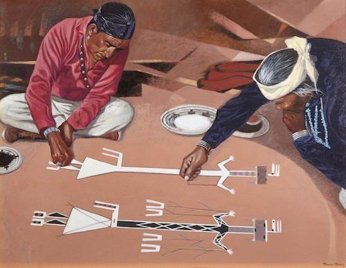 David Johns, Dineh Sand Painting Ceremony, acrylic on canvas kp