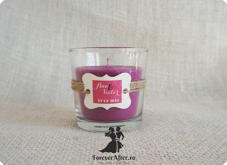 Marturie nunta lumanare parfumata in pahar Purple Flowers