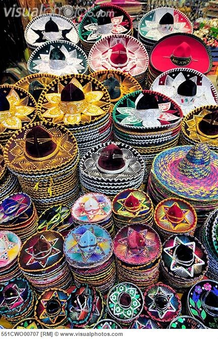 Colorful sombreros in Mexico