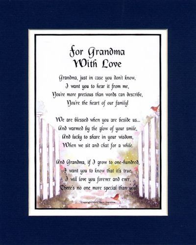 A Gift For A Grandmother.Touching 8x10 Poem, Double-matted in Dark Blue Over White and Enhanced with Watercolor Graphics. (bestseller)