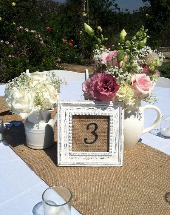 Burlap Wedding Table Numbers; rustic-outdoor wedding