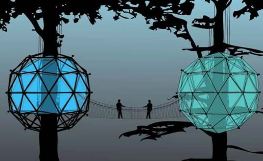 geodesic tree house: Green Building, Trees Homes, Buckminster Fuller, Geode Domes, Trees House Design, Nails, Glow, Construction, Treehouses