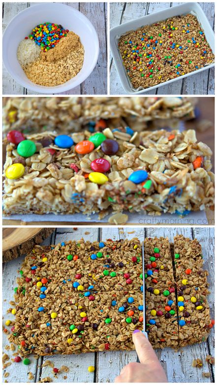 Homemade mini m&m granola bars for a kids snack! I LOVE this recipe!