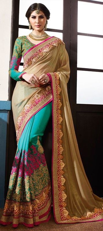 191018 Beige and Brown, Blue  color family Bridal Wedding Sarees, Party Wear Sarees in Crepe, Georgette fabric with Border, Machine Embroidery, Resham, Stone, Zari work   with matching unstitched blouse.
