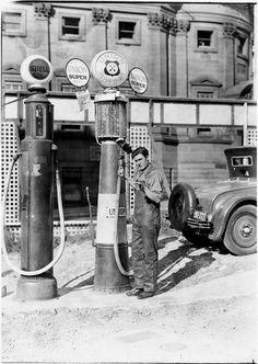 Petrol bowsers, Bent Street Sydney c.1928.