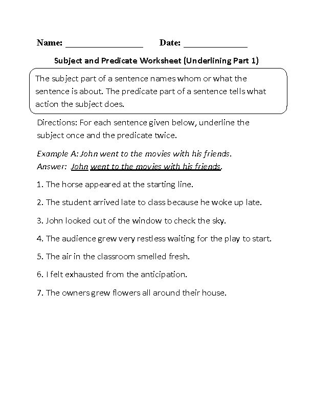 Subject and Predicate Worksheet Underlining Part 1