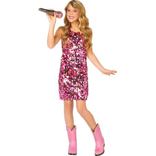 Pink Sequin Dress Girl Costume Pop Star Singer Diva Child | eBay