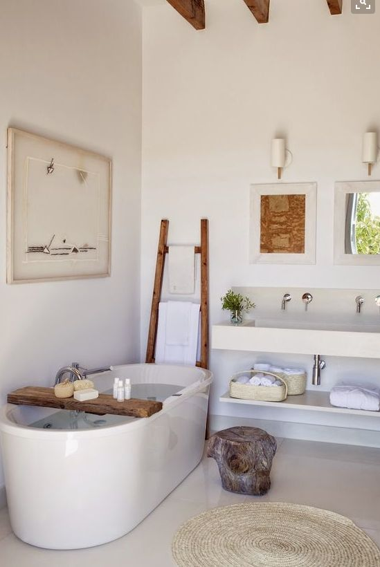 Bathroom bliss #Beachwood products #Ladder #Rugs #baskets