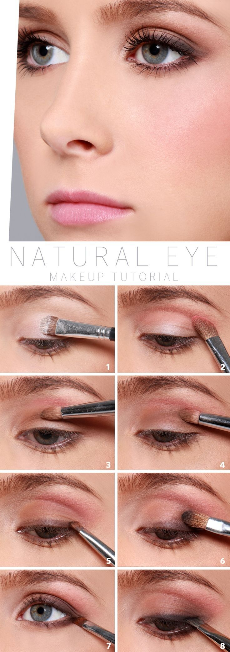 Top 10 Tutorials for Natural Eye Make-Up>> Looks like a lot of work for a 'natural look' but it is pretty