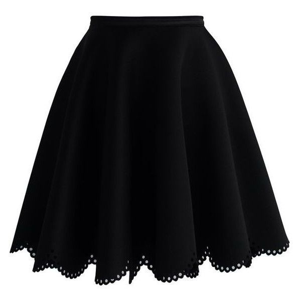 Chicwish Petal Airy Skater Skirt in Black ❤ liked on Polyvore