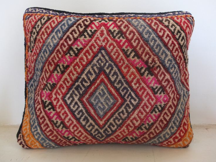 Etnic Handmade Pillow Cover - Pink, Blue, Orange Accent - 16'x13' Inch (40x33 cm) - embroidered. See on Etsy: https://www.etsy.com/listing/197501165/etnic-handmade-pillow-cover-pink-blue?ref=shop_home_active_7