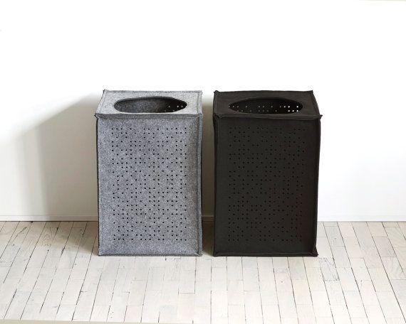 Set of 2 Large Laundry Baskets / Gray and Black Laundry Hamper /Minimalist / Felt Basket /Made to Order