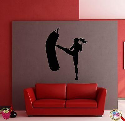 Wall Stickers Vinyl Decal Girl Kicks Punch Bag Box Boxing Fitness Sport Unique Gift (z1802)