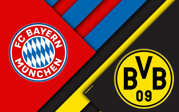 Download wallpapers Bayern Munich, vs, Borussia Dortmund, Germany Cup, Bundesliga, Germany, material design, emblems, Bayern vs Borussia