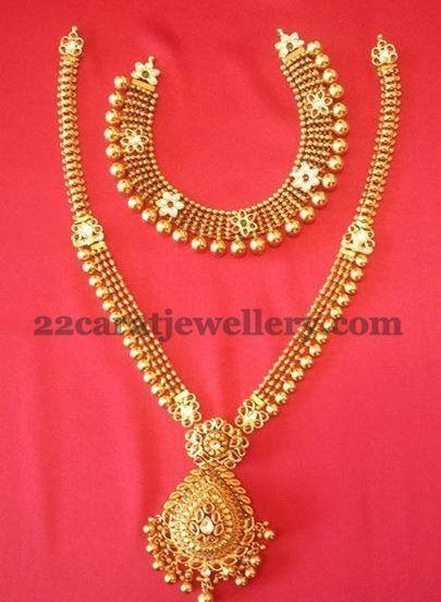 Jewellery Designs: 20 gms Necklace 40 gms Long Set
