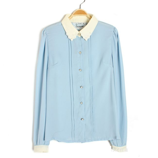 Lace and Pearl Trimmed Collar Pintucked Pleats Chiffon Shirt for Women