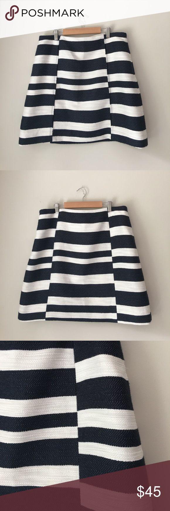 LOFT Navy Striped Cotton A-Line Skirt Gorgeous navy striped a-line skirt by LOFT. Side zip. Size 12. NWOT. LOFT Skirts A-Line or Full