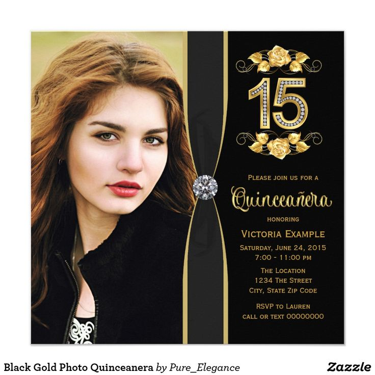 Black Gold Photo Quinceanera Card Beautiful black and gold Quinceañera birthday party invitation with gold swirl flowers and gold diamond numbers. These elegant black and gold photo Quinceañera invitations are easily customized for your event by simply adding your photo and details in the font style and color, and wording of your choice.