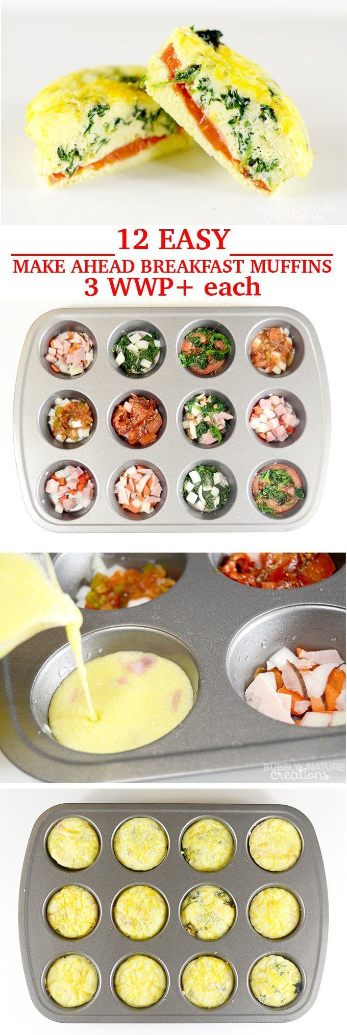 12 Easy Make Ahead Breakfast Muffins only 3 WW Plus Points #WeightWatchers #lowcarb #protein