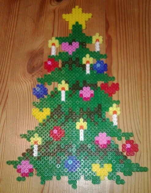Christmas tree hama perler beads by Susanne Damgård Sørensen