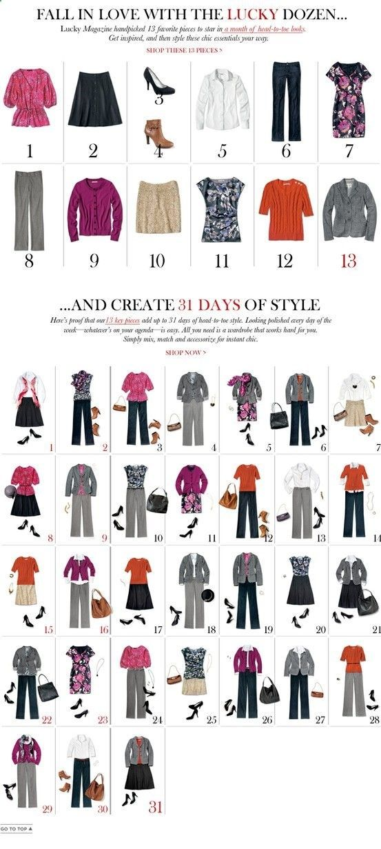 13 pieces into 31 outfits, fall/winter -- like seeing how you can put a few pieces together to make so many outfits