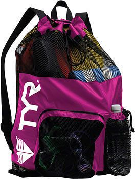 TYR Large Mesh Equipment Backpack Mummy Bag Pack Bag for Wet Swim Gear Pink
