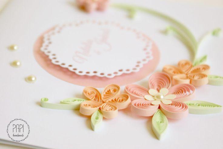 minimalistyczna kartka ślubna quilling kwiaty