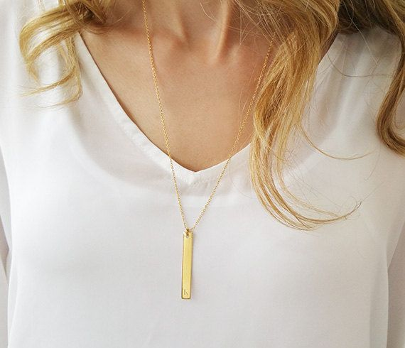 Long bar necklace, Vertical gold bar necklace, Gold filled initial necklace, Engraved jewelry, Personalized jewelry, Engraved necklace