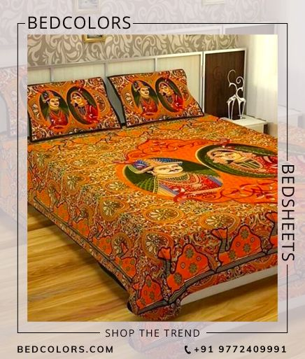 Yellow background with  Sanganeri print,  adding comfort to your night. Soft & smooth sanganeri print king size Bed sheet Set with Pillow Cover .
