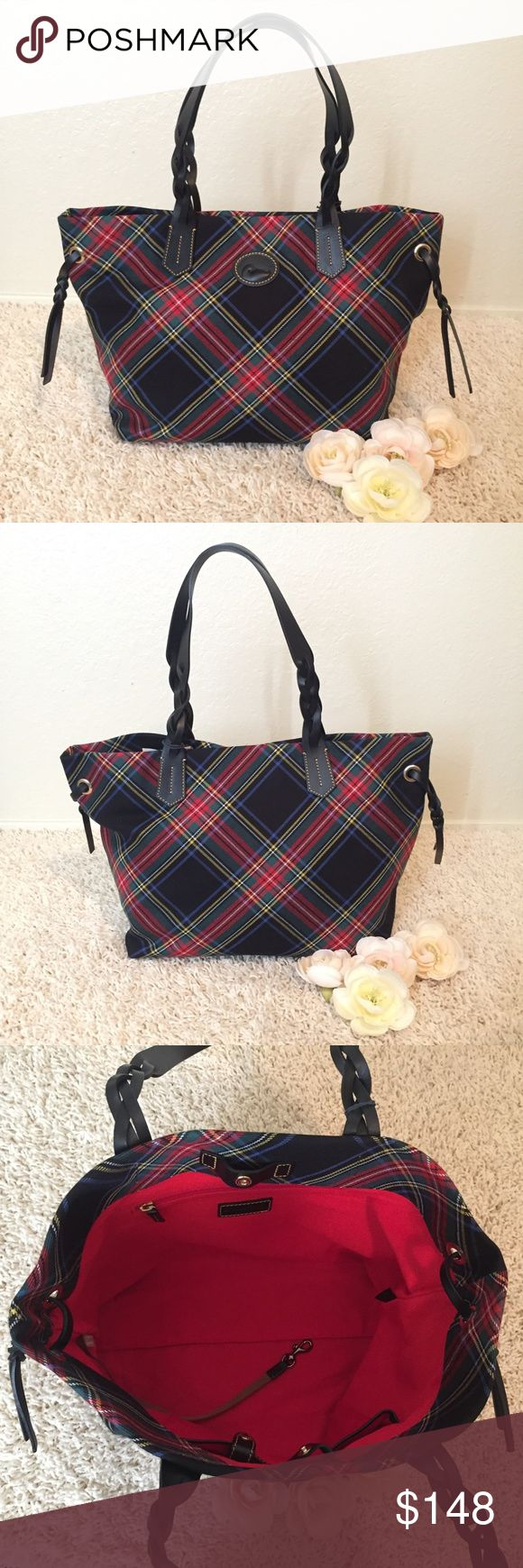 "Dooney & Bourke Black Tartan Shopper Dooney & Bourke Black Tartan Shopper; A brand new 100% authentic handbag from Dooney & Bourke; Original price: $168 +Tax; Size: Medium-Large; Color: Black Tartan; Material: Coated Cotton; Dimension: H 11.25"" x W 6.5"" x L 12.5""; Others: One inside zip pocket, One inside pocket, Cell phone pocket, Inside  key hook, Strap drop length 10"", Lined, Snap closure. Dooney & Bourke Bags Totes"