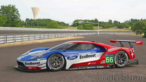 Суперкар Ford GT / Форд GT для Ле Ман – вид сбоку